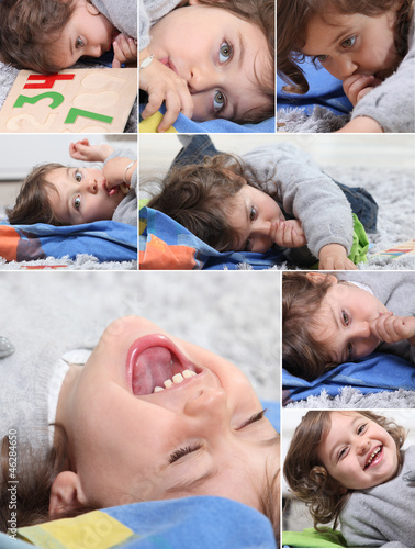 Montage of happy little boy at home