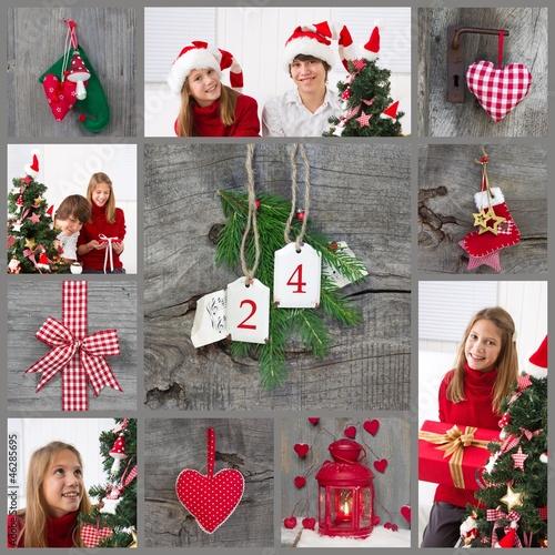 weihnachten collage rot u gr n mit kindern stockfotos. Black Bedroom Furniture Sets. Home Design Ideas
