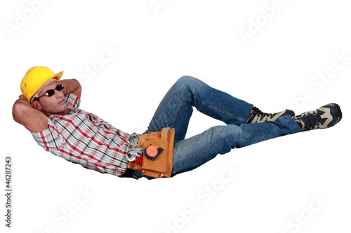 Construction worker lazing about