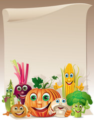 Funny vegetables cartoon company scroll