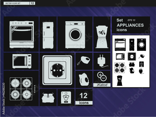 Vector collection web icons.  Appliances and Kitchenware