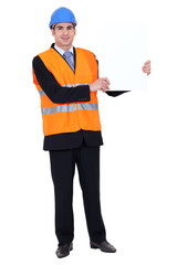 Construction worker poster showing white