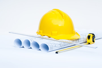 construction helmet and hause project drawings