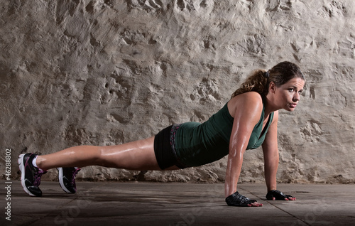 Lady Doing Push-ups