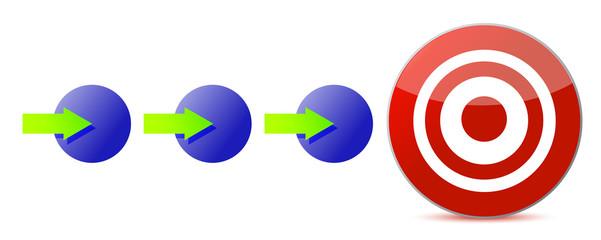 steps to the target illustration design