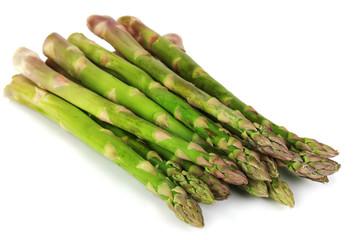 Fresh asparagus isolated on white.