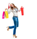 Girl with Shopping Bags. Christmas Shopping. Sales