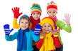 Group of kids in winter clothes