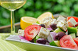 Authentic Greek salad with white wine