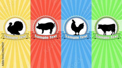 Farm animals food labels