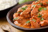 Fototapety Creamy butter chicken curry with basmati rice.