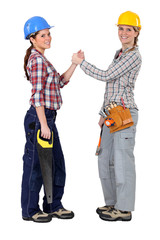 Female workers forming a pact