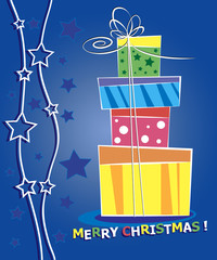 Christmas card. Celebration background with gift boxes and place