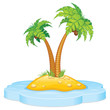 Tropic Island with Coconut Palm, Vector Cartoon Illustration