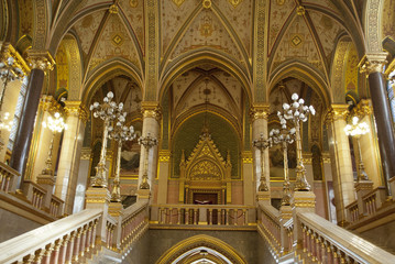 Interior of the Parliament in Budapest (Hungary)
