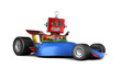 Vintage toy robot in race car over white background