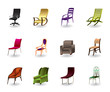 Luxury, interior, office and plastic chairs