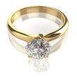 Golden ring with big diamond - clipping path