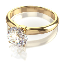 Golden ring with big diamond - isolated