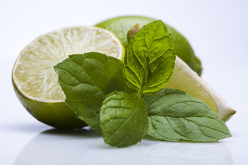 Lemon with mint branch