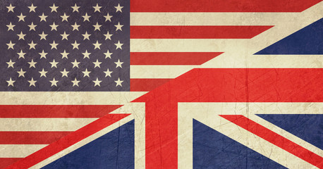 Grunge American and British flag