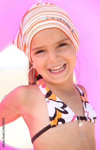 Girl with scarf and float