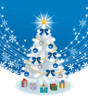 White Christmas tree on deep blue color Back ground
