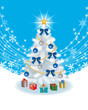 White Christmas tree on sky blue color Back ground
