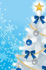 White Christmas tree Close-up, on sky blue Back ground