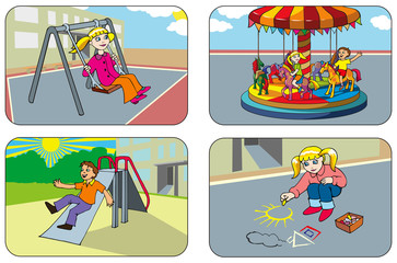 Kids playing in the playground, vector illustration
