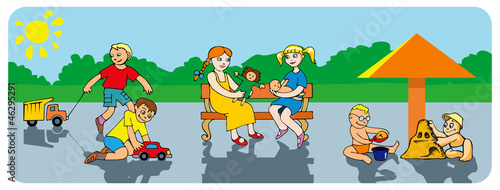 Kids playing in the park, vector illustration