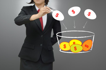 Business woman drawing investor concept