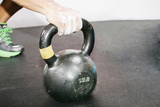 kettlebell crossfit workout on the gym
