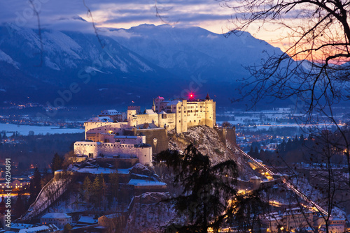 Salzburg and castle Hohensalzburg at sunset - Austria