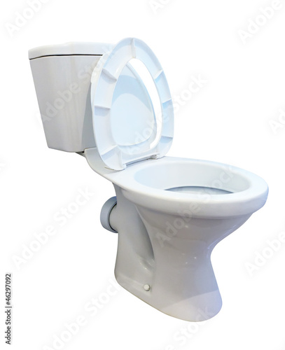 White toilet bowl over white backround