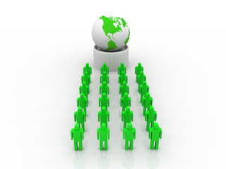 3d people - human character and globe earth