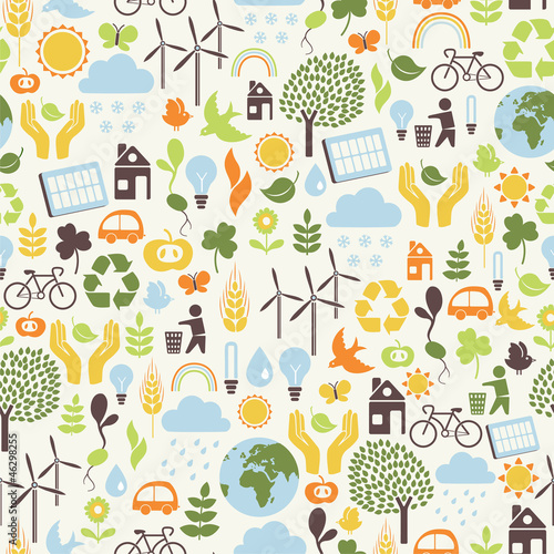 seamless pattern with eco icons