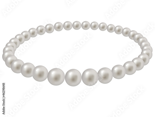 Pearl beads on a white background
