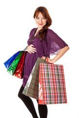 Pregnant woman with bags