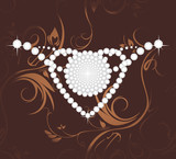Shining diamond heart on the dark brown ornamental background