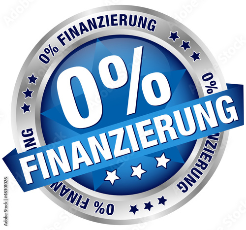 "Button Banner ""0% Finanzierung"" blau/silber"