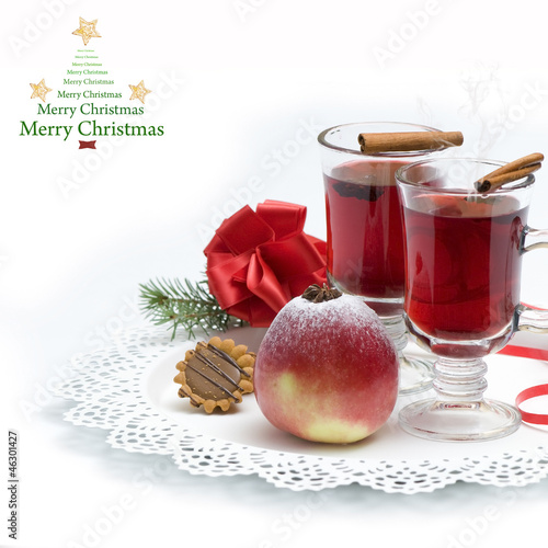 Hot wine, tea for winter and Christmas background
