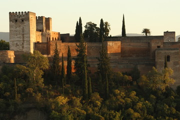 watchtowers and fortification walls of Alcazaba at Alhambra