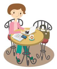 カフェで仕事をする女性のイラスト