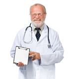 smiling doctor  with health record poster