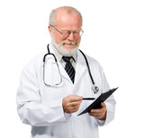 confident doctor with health record poster