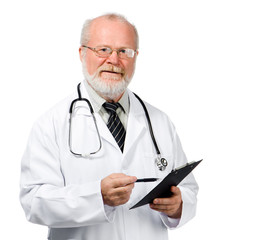 senior doctor writing reports