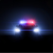 Police car with full array of lights. Vector illustration