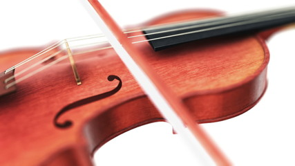 Violin, seamless loop on white background