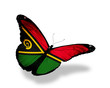 Vanuatu flag butterfly flying, isolated on white background